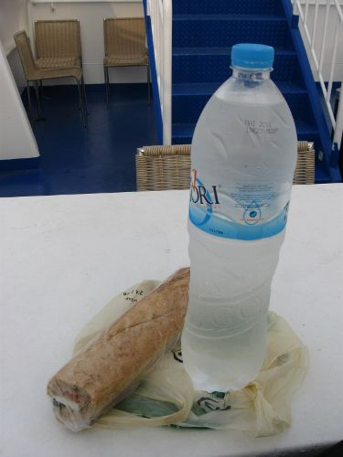 sandwich and water
