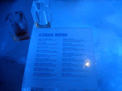 ABSOLUT ICEBAR Menu, Stockholm Sweden